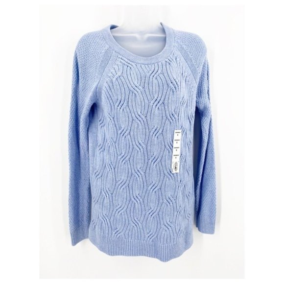 Sonoma Pullover Knit Crewneck Sweater Long Sleeved Light Blue NWT Size S